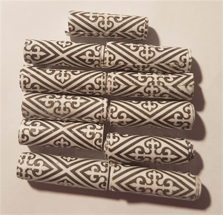 Paper beads, black and white pattern set of 11