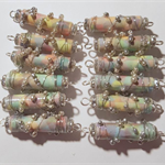 Wire wrap paper bead, pinks and greens with silver beads. Sold as a solo beads.