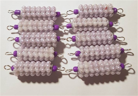 Purple beaded beads with connectors set of 10