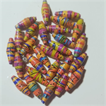 Cute and stunning small hand colored paper beads, reds and oranges-29 beads