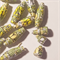 Cute and stunning small hand colored paper beads, green and yellows-24 beads