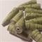 Handmade Designer bell shape paper beads, green with threads set of 16