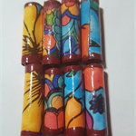 Handmade hand colored designer paper bead in  blues and oranges set of 8