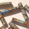 Black, blue and gold Japanese paper handmade designer paper beads set of 13