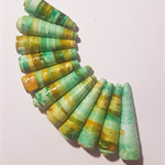 Handmade Designer bell shape paper beads, in shades of green set of 11
