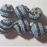Handmade Designer hand beaded barrel beads in blue, black and silver, set of 6