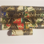 Stunning navy & gold Japanese paper handmade designer paper beads set of 10