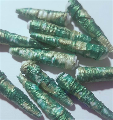 Stunning green Tyvex handmade designer paper beads set of 11