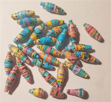 Cute and stunning small hand colored paper beads, blues and yellows-29 beads